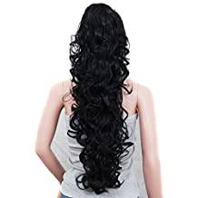 "Prime 25"" 200g Curly Wave Synthetic Clip in Claw Ponytail Hair Extension Hairpiece Accessories Natural Black ( #1B ) with a Jaw/Claw Clip for Girl Lady Woman"