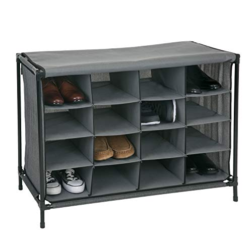 - Simplify 16 Pair Stackable Shoe Rack Organizer with Cover for Closet Bedroom & Entryway Grey