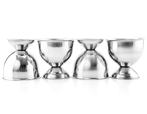 Stainless Steel Egg Cups (4-Pack); Best Soft-Boiled Egg (English Egg Cup)