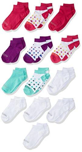 - Fruit of the Loom Girls' Big' Everyday Soft Lightweight Low Cut Socks 13 Pair, white, pink, purple, green, Shoe Size: 4-10