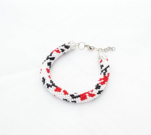 Ukrainian bracelet red white black patriot floral ornament ukraine gift for her beaded flower crochet rope