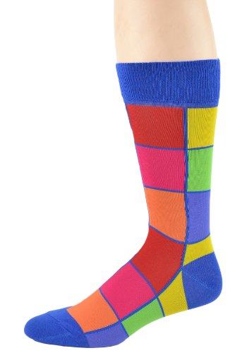 Foot Traffic - Pattern Men's Socks, Bright Squares
