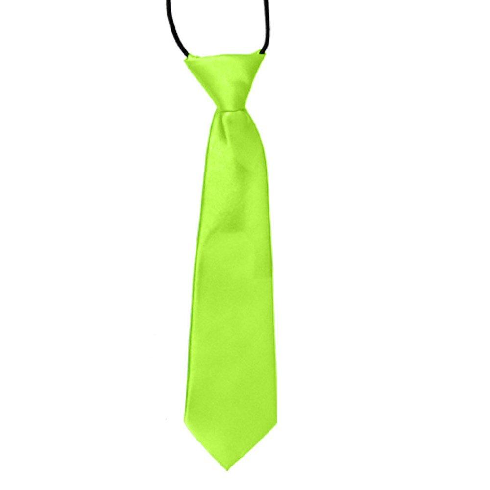 Shuohu School Boys Kids Solid Color Elastic Tie Necktie - Fluorescent Green