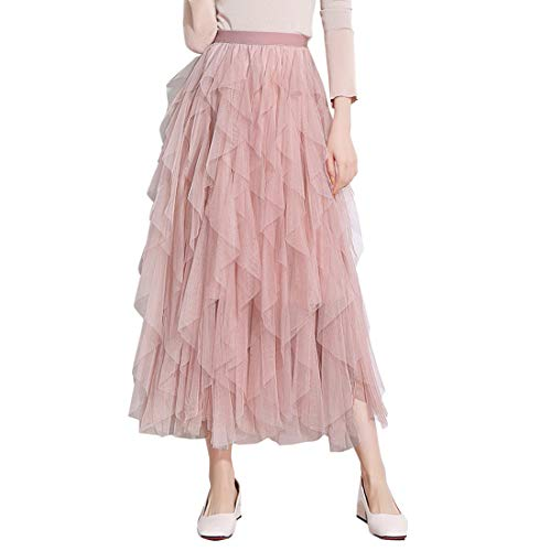 Itemnew Women's Tulle Elastic Waist Ruffle Porm Party Layered Mesh Long Skirt (One Size, Pink)