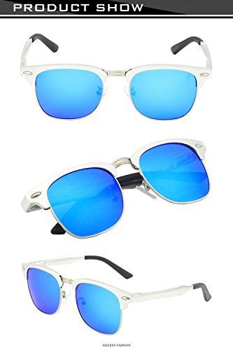 GQUEEN lunettes Retro Protection soleil de Frame 2 Hommes polarisées Argenté Bleu MS0 Mg UV400 Al pXrwp4q