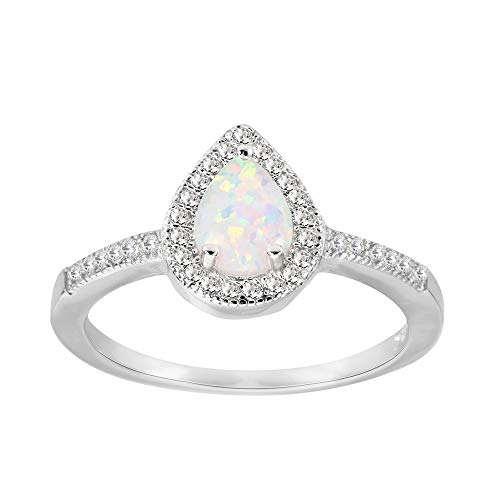 CloseoutWarehouse Teardrop White Simulated Opal and Cubic Zirconia Embraced Ring Sterling Silver Size -