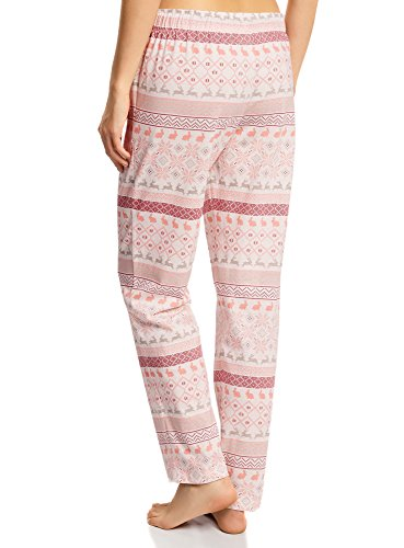 oodji Ultra Mujer Pantalones Estampados de Casa Rosa (1240E)