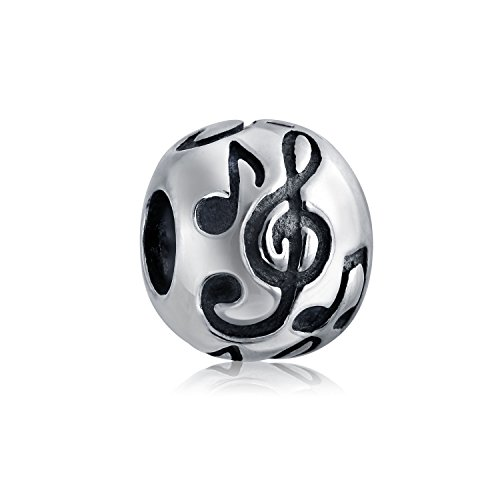 Sterling Silver Musical Notes Charm (Bling Jewelry Round Musical Notes Charm Bead .925 Sterling Silver)