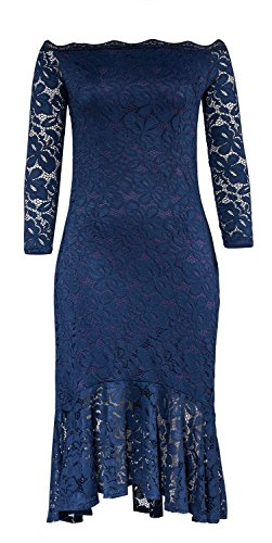 [Trary Women's Floral Lace Sexy Dress Elegant Off Shoulder Long Sleeve Cocktail Party Mermaid Dresses NAVYBLUE M] (Maternity Fancy Dress Uk)