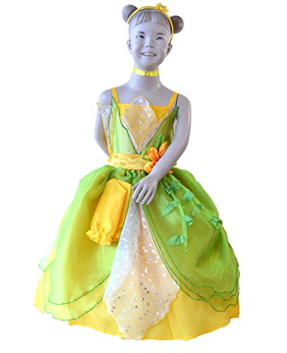 Tiana Halloween Costumes (MylittlelizShop Disney Princess and the Frog Princess Dress Kids Costume)