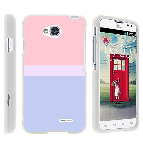 (MINITURTLE Case Compatible w/ LG Ultimate 2 Phone Case, Armor Snap On Hard Case Protector Cover w/ Customized Design for LG Optimus L70 MS323, LG Optimus Exceed 2 VS450PP, LG Realm LS620, LG Ultimate 2 L41C (Metro PCS, Verizon, Boost Mobile) Color Block Sunset Pastel)