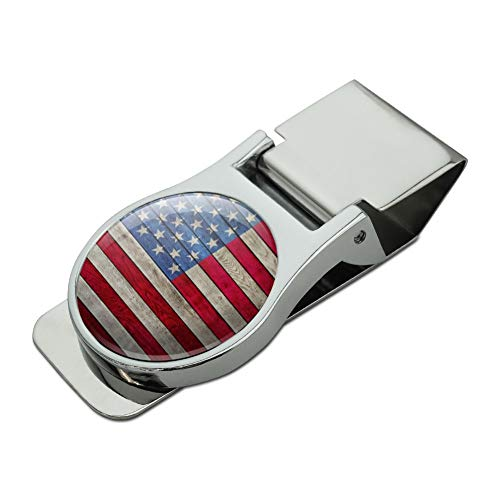 Rustic American Flag Wood Grain Design Satin Chrome Plated Metal Money Clip ()