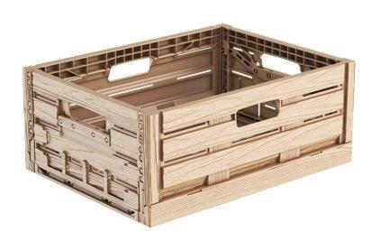 Surplus Systems 16 litros Efecto Madera plástico Plegable Euro apilables de Almacenamiento Caja Contenedor Cajas, Wood Effect: Amazon.es: Jardín