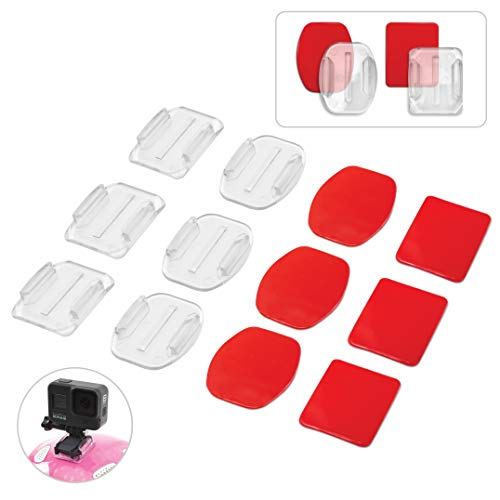 Invisible Adhesive GoPro Mount Kit 8-Pack, 4X Curved & 4X Flat Mounts Bundle w/Transparent GoPro Sticky Mounts, Clear Mount for Helmet/Bike/Board/Car, Fits All Go Pro Models, GoPro Helmet Mount 8X