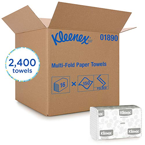 Kleenex Multifold Paper Towels (01890), White, 16 Packs / Case, 150 Tri -