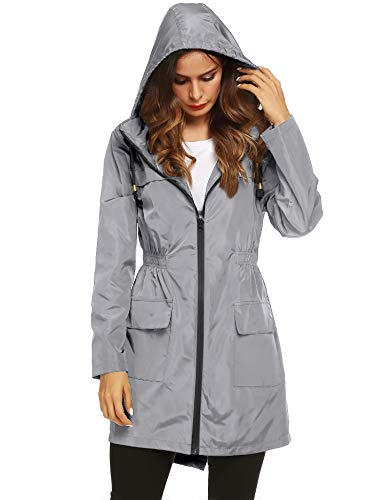 LOMON Women Waterproof Lightweight Rain Jacket Active Outdoor Hooded Raincoat (XL, Gray)