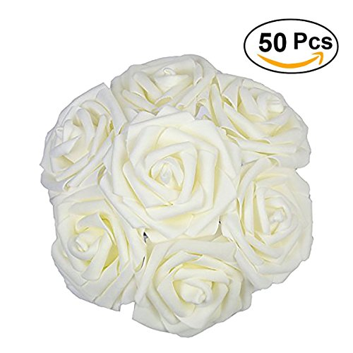 Ivory Rose Bridal Bouquet (Lmeison Artificial Flower Rose 50pcs Ivory Real Looking Artificial Roses w/Stem for Bridal Wedding Bouquets Centerpieces Baby Shower DIY Party Home Décor by, White)