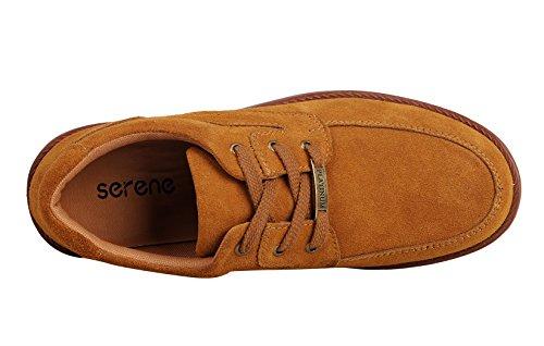 Serene Heren Casual Zomerkleurige Suède Lederen, Ademende Lage Top Mode Sneaker, Bruin