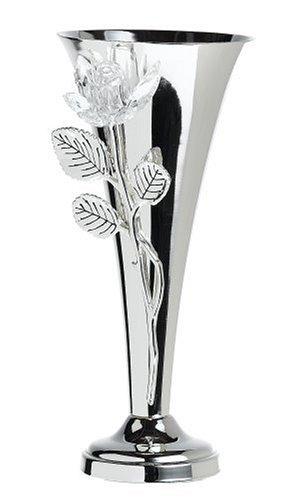 Godinger Silver Plated Vase with Crystal Rose