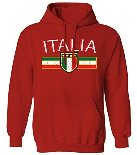 Italia Distressed Flag Stripe Banner -Italian Italy Mens Hoodie Sweatshirt (Red, Medium)
