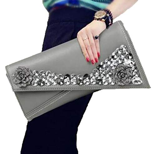 Clutch and Bag Gray Envelope Leather Wristlet Womens Gshe Genuine Wedding Purses Evening Bags for Handbags Party aIqO1fn
