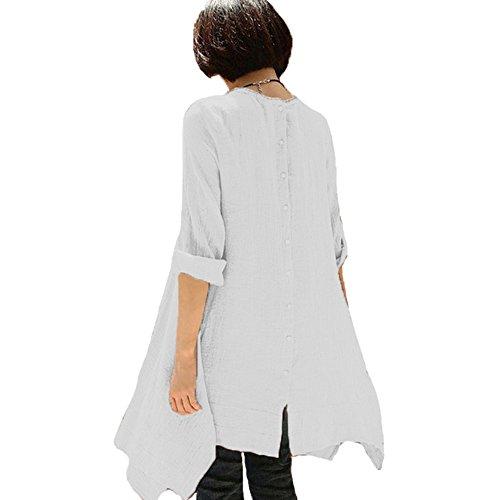 Celmia Womens Longue Bouton Solide Manches Dos Robe Lâche Tunique Mini Robe Casual Taille Plus Large Blanc
