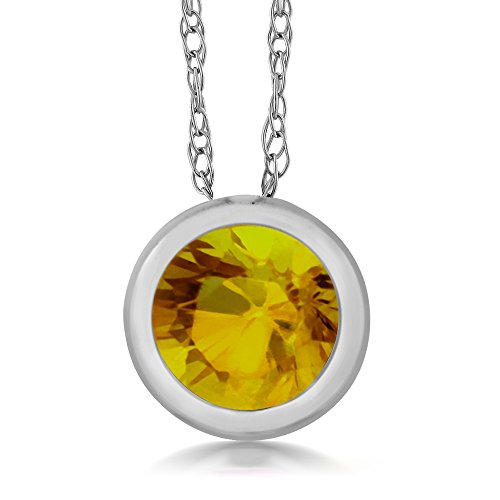 Gem Stone King 14K White Gold Yellow Sapphire Pendant (0.35 Ct, 4MM Round, With 18 Inch White Gold Chain)