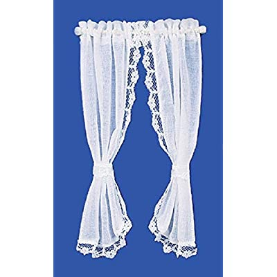 Melody Jane Dollhouse White Sheer Curtains on Rail Miniature 1:12 Scale Window Accessory: Toys & Games