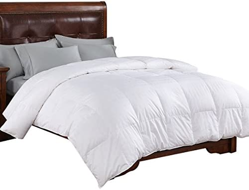 PEACE NEST All Season White Goose Down Comforter, 600 Fill Power Down Fill, 100 Cotton Shell 300 Thread Count, Full Queen Size, White