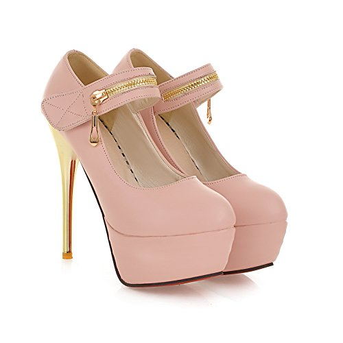 AdeeSu Womens Spikes Stilettos Platform Low-Cut Uppers Velcro Pumps Shoes Pink YcMlTR8PSs