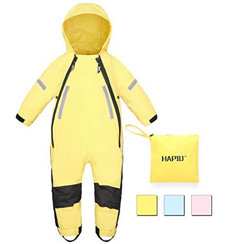 HAPIU Kids Toddler Rain Suit Muddy Buddy Waterproof Coverall,Yellow,2T,Upgraded ()