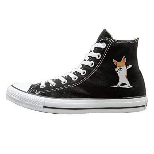 AmazingDogs bbing Corgi Canvas Shoes High Top Design Black Sneakers Unisex Style -