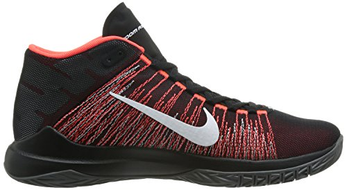 Nike Zoom Ascention Mens Scarpe Da Basket Nero Luminoso Bianco Cremisi