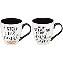 Cypress Home I Stole Her Heart & I'm Stealing His Last Name Wedding Coffee Cup Gift Set of 2 Oversized Mugs, 18 ounces