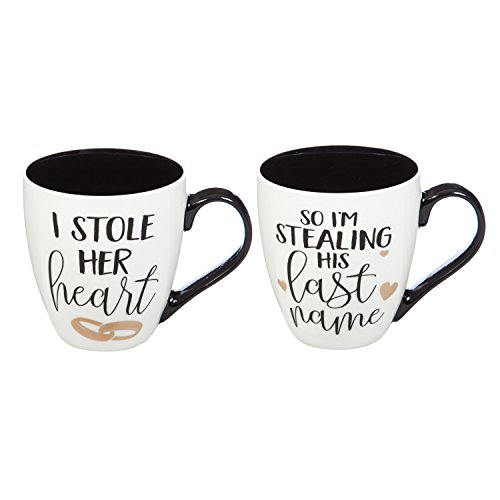 - Cypress Home I Stole Her Heart & I'm Stealing His Last Name Wedding Coffee Cup Gift Set of 2 Oversized Mugs, 18 ounces