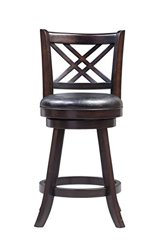 Boraam 65624 Porto Counter Height Swivel Stool, 24-Inch, Merlot (Cabinet Height Bar Stools)