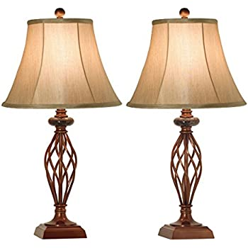 Table lamps set of 2 for living room or bedroom 27 5 in high royal bronze finish large bedside readingdiningkitchennightstand traditional table lamp