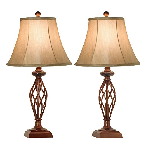 Table Lamps Set of 2 for Bedroom or Living Room, 27.5 in. High Royal Bronze Finish, Large Bedside Reading,Dining,Kitchen,Nightstand Traditional Table Lamp (Bronze Table lamp) -