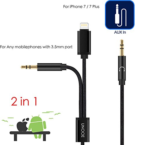 unooe iphone 8 aux cord braided aux cable lightning to 3. Black Bedroom Furniture Sets. Home Design Ideas
