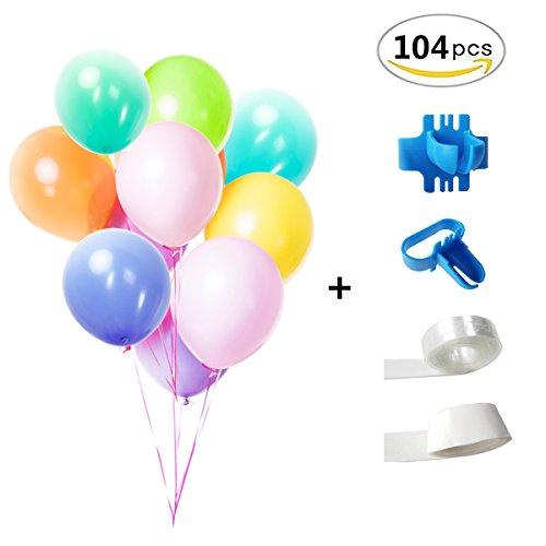 Latex Balloons Assorted Color 12 Inches Rainbow Set Helium Or Air Use, Birthday Balloon Arch Supplies,Balloon Tape Strip,Balloon Glue, Balloon Tying Tool (104 Pcs)