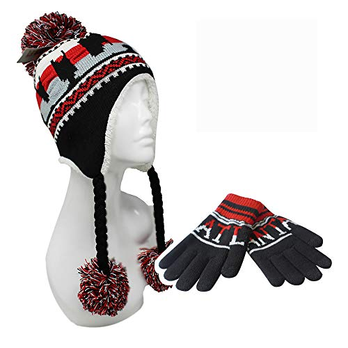 ChoKoLids Football Team City Name Knitted Pom Pom Earflap Winter Hat - 24 Cities (Atlanta Set(SE101 &SG100)) (Atlanta Beanie With Pom)