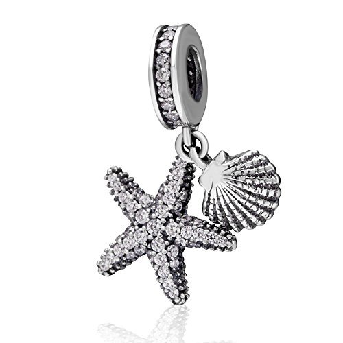 (Hoobeads Starfish Crystal Charms Pendant 925 Sterling Silver Ocean Beach Dangle Bead (Antique) )
