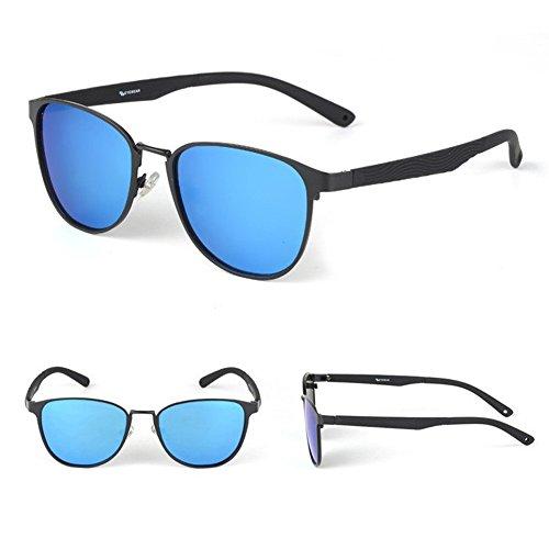 Wayfarer Mirrored Sunglasses Polarized Retro Unisex Shades Blue Reflective Lens Black Frame