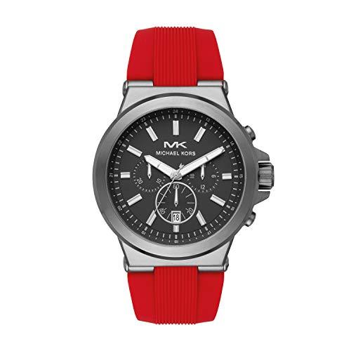 Michael Kors Men's Dylan Stainless Steel Quartz Watch with Rubber Strap, Red, 26 (Model: MK8728) (Red Michael Kors Watch Men)