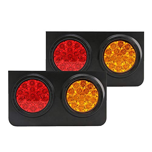 TOPPOWER 32LED Truck/Trailer Tail Lights with Iron Bracket Base DC12/24V Red&Amber Waterproof Tail Stop/Turn/Brake/Tail Lights/Lamps fits Truck/Trailer/Excavator/RV/UTV/Harvester etc.(2 Pcs) ()
