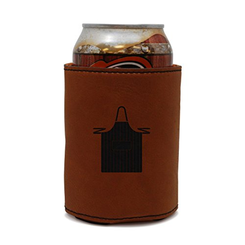 MODERN GOODS SHOP Leather Beer Coozie With Chef Apron Engraving - Oil, Stain And Water Resistant Beer Hugger - Standard Size Beer And Soda Can - Shop Soda Apron