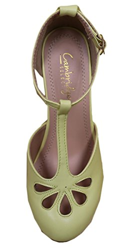 Cambridge Select Womens Teardrop Cutout T- Strap Mary Jane Dress Pump Lemon c5xyP