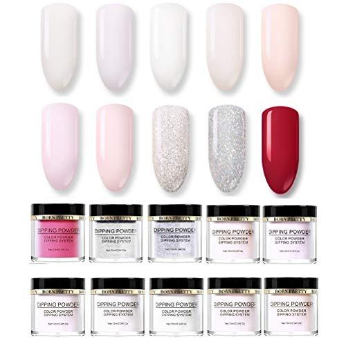 BORN PRETTY Acrylic Nail dipping nail powder Nail Art for Dipping Nail Without Lamp Cure French Nail manicuring 10 Colors Set