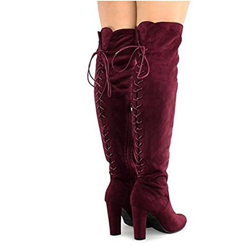 on Over MVE Slip Thigh The Suede Shoes Heel Vegan Z Boots Comfy Block Wine Knee Women High Fashion 7zw7fq