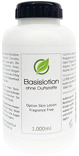 Basiscreme - Basislotion (Skin Lotion) ohne Duftstoffe (fragrance free), 1.000ml (1 Liter)